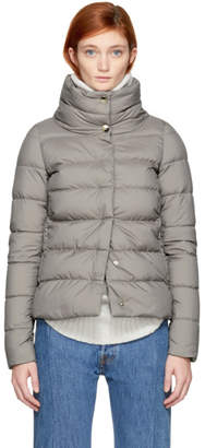 Herno Grey Down High Collar Puffer Jacket
