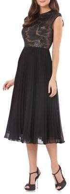 Carmen Marc Valvo Pleated Fit-and-Flare Cocktail Dress