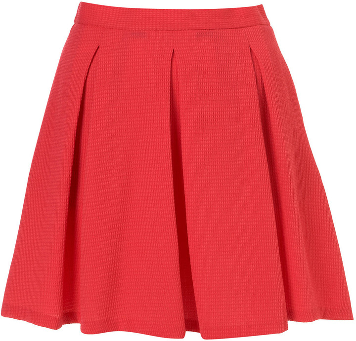 Coral Waffle Pleated Skirt