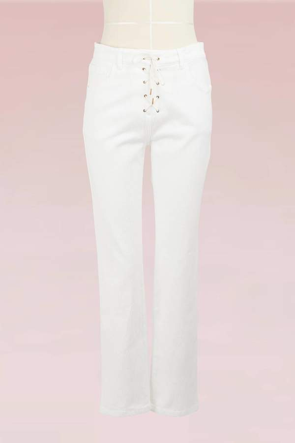 Chloé Lace-Up Cropped Jeans