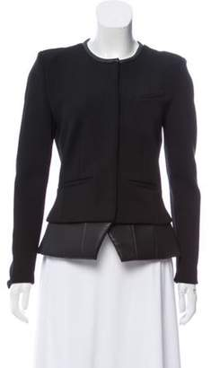 IRO Structured Leather-Trimmed Jacket Black Structured Leather-Trimmed Jacket