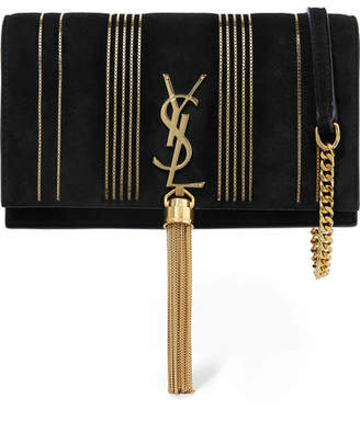 Saint Lau Monogramme Kate Small Embellished Suede Shoulder Bag Black