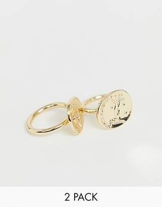 Weekday engraved mystic Ring Set in Gold