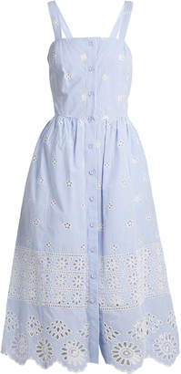 SEA Exploded Eyelet button-front cotton dress $425 thestylecure.com