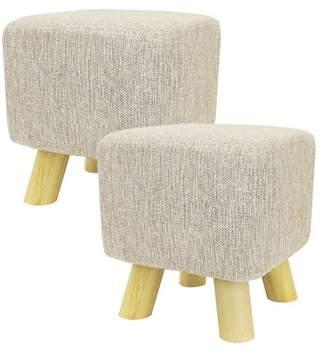 BEIGE DL furniture - 2 Piece Ottoman Foot Stool Square Shape , 4 leg Stands | Linen Fabric,
