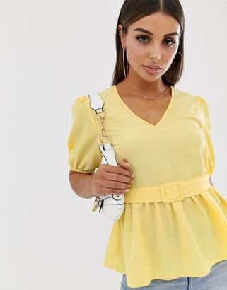 Asos Design DESIGN short sleeve v neck tea blouse with buckle detail