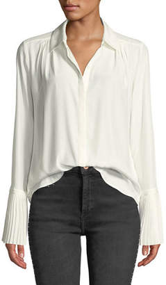Frame Long-Sleeve Pintuck Button-Front Silk Blouse