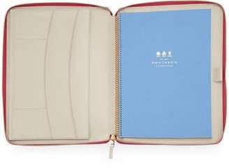 Smythson A4 Zip Folder with Notebook, Fuchsia