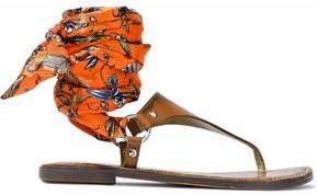 Sam Edelman Giliana Leather And Printed Satin Sandals
