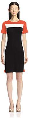 Society New York Women's Short Sleeve Color Block Dress
