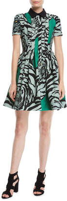 Valentino Short-Sleeve Pintucked Pleated Tiger-Print Crepe Couture Dress