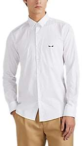 Fendi Men's Eye-Embroidered Cotton Poplin Shirt - White