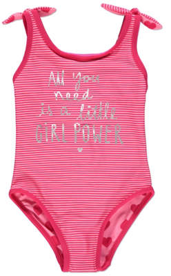 George Pink Slogan and Stripe Reversible Heart Swimsuit