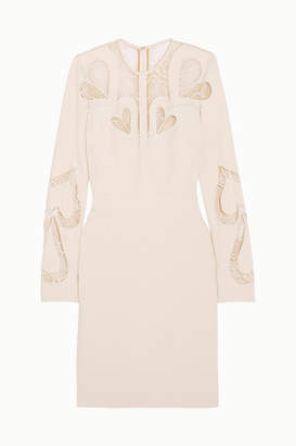 Elie Saab Lace-paneled Crepe Dress - Ivory
