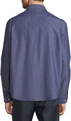 Neiman Marcus Men's Regular Fit Wear-It-Out Chambray Button-Down Shirt