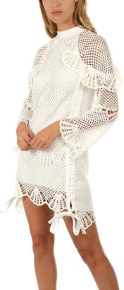 Self-Portrait High Neck Crochet Tunic Dress
