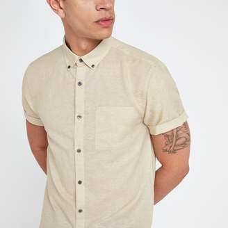 River Island Mens Ecru short sleeve Linen blend shirt