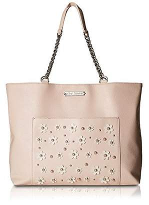 Betsey Johnson Faux Pearl Daisy Detail Bag In A Bag Pebble Faux Leather Tote Shoulder Bag