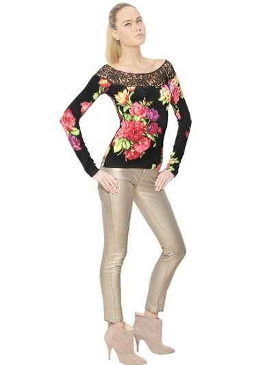 Blumarine Lace & Printed Rayon Spandex Knit