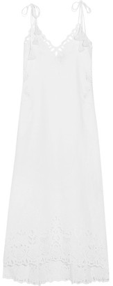 Theory - Taytee Broderie Anglaise Linen And Cotton-blend Dress - White $475 thestylecure.com