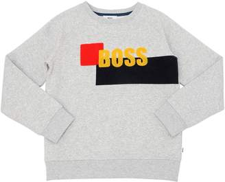 HUGO BOSS Logo Patches Flocked Cotton Sweatshirt
