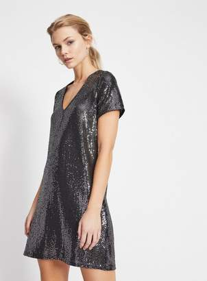 Miss Selfridge Gunmetal sequin t-shirt dress
