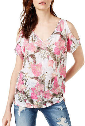 INC International Concepts Embellished V-Neck Cold-Shoulder Top