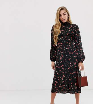 Fashion Union button through midi shirt dress with ruffle bib in floral print