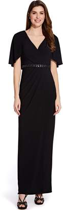 Adrianna Papell Black Long Draped Jersey Dress