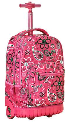 """Rockland Pink Floral 19"""" Rolling Backpack"""