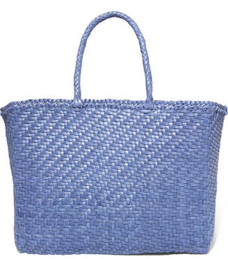 Dragon Optical Diffusion - Basket Woven Leather Tote - Blue