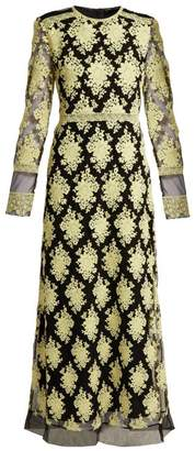 Burberry Floral Embroidered Mesh Dress - Womens - Yellow Multi