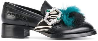 Prada fur tassel loafers