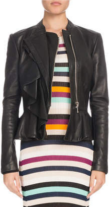 Altuzarra Zip-Front Peplum Calf Leather Jacket w/ Ruffled Frills