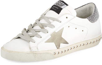 Golden Goose Superstar Leather Low-Top Sneakers with Crystal Base