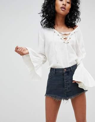 One Teaspoon Festival Denim Mini Skirt with Raw Hem