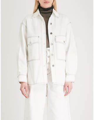 Mo&Co. Topstitched denim jacket