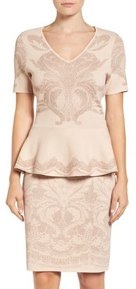 Women's Ivanka Trump Metallic Knit Peplum Top $79 thestylecure.com