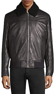 HUGO Men's Lanzo Shearling Collar Leather Bomber Jacket