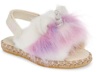 2fa9c54c1508 UGG Rainbow Unicorn Faux Fur   Genuine Calf Hair Slide Sandal