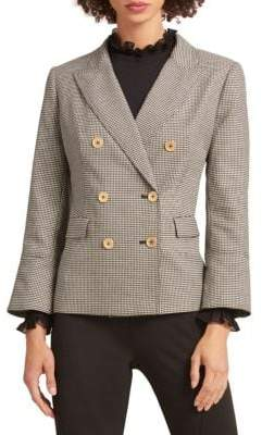 Donna Karan Double-Breasted Houndstooth Blazer