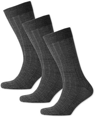 Charles Tyrwhitt Grey Wool Rich 3 Pack Socks Size Large