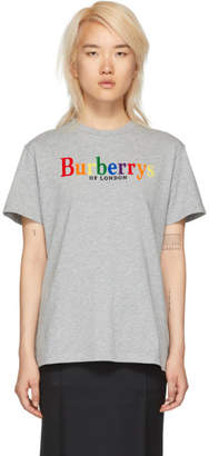 Burberry Grey Rainbow Logo T-Shirt