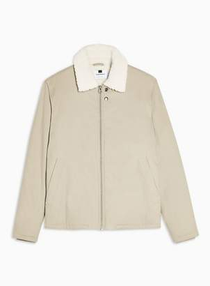 Topman Mens Stone Borg Lined Coach Jacket