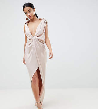 Asos Design Petite Drape Satin Maxi Dress
