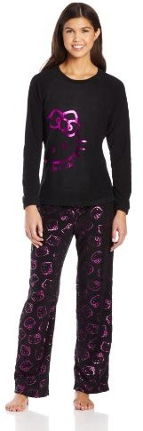 Hello Kitty Junior's Follow The Glow Black with Pink Foil Print Pajama Gift Set