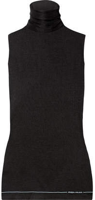 Prada Ribbed Silk Turtleneck Top - Black