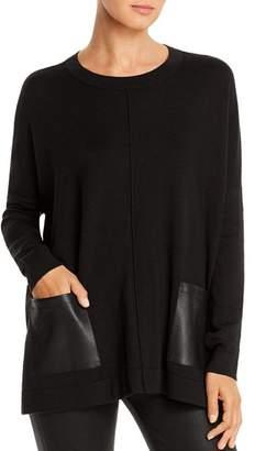 Donna Karan Faux-Leather Pocket Sweater