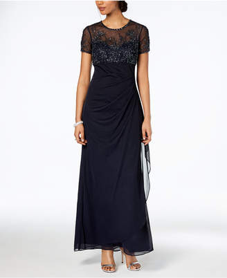 Xscape Evenings Petite Beaded Illusion Gown