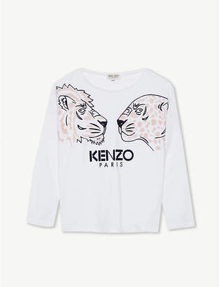 Kenzo Dual tiger stretch-cotton top 4-16 years